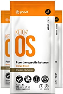 KETO//OS Orange Dream 2.1 CHARGED, BHB Salts Ketogenic Supplement - Beta Hydroxybutyrates Exogenous Ketones for Fat Loss, Workout Energy Boost and Weight Management through Fast Ketosis, 3 Sachets