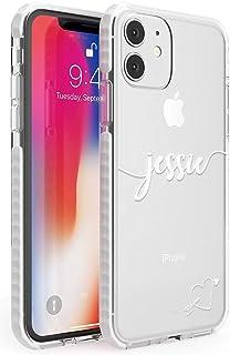 Nombre Personalizado con Blanco del Monograma del corazón Impact Funda para iPhone 11 TPU Protector Ligero Phone Protector...