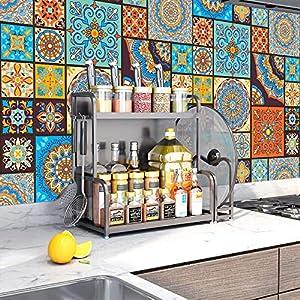 Tingz 20Pcs Pegatinas para azulejos(15x15cm),Adhesivo para azulejos de pared para decoración del hogar,Estilo marroquí Autoadhesivo Impermeable Vintage Retro Art Decor para cocina Baño (15X15cm/6X6in)