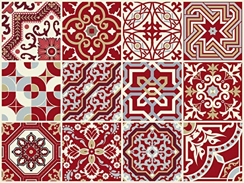 THE NISHA 12 PC Pack (4 X 4) Art Eclectic Peel and Stick Wall Sticky Backsplash Vinyl Waterproof Removable Tile Sticker Decals for Bathroom & Kitchen, 4x4 Inch, Maroon Red 1276-4-12
