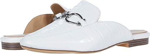 White Croco Print Leather