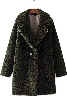 Surprise S Women Warm Leopard Print Coatlong Sleeve Teddy Coat Outwear Fjacket