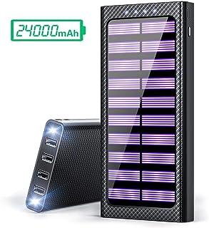 Gnceei Batería Externa 24000mAh - 4 Salidas Cargador Móvil Portátil Power Bank con 3 Entrada y 2 LED Ligero para Smartphones y Otros Tablet