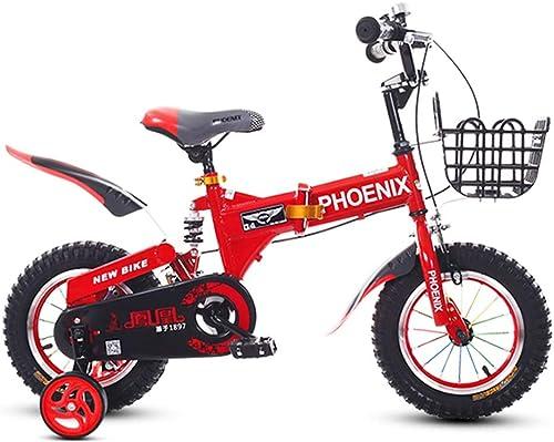 marca de lujo Bicicletas Plegable para Niños Niño Niño Niño niña Amortiguador Cuadro de Acero al Carbono con Rueda Auxiliar (Color   rojo, Talla   12inches)  calidad oficial