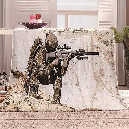 ZFSZSD Couverture Armes à feu et Soldats Couvre-lit en Flanelle avec Polaire Chaude et Douce pour canapé bébé Gris 130x150cm
