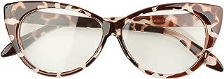 Beison Vintage Cateye Optical Eyeglasses Frame Plain Glasses Clear Lens