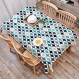 Rechteck Tischdecke140 x 200 cm,Moderne, geometrische Kreise mit halbrundem Quadrat in den Blautönen Mi,Couchtisch Tischdecke Gartentischdecke, Mehrweg, Abwaschbar Küchentischabdeckung für Speisetisch