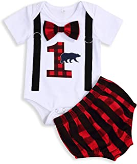 GRNSHTS Baby Boy First Birthday Outfit Lumberjack Toddler Bow Tie Short Sleeve Romper+Buffalo Plaid Diaper Cover Cake Smash Clothes