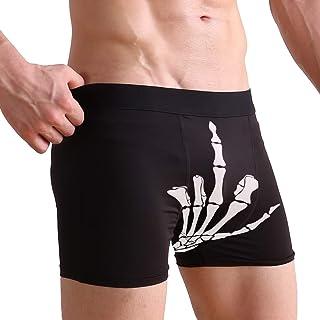 WXLIFE Funny Skeleton Middle Finger Boxer Briefs Men's Underwear for Men Boy