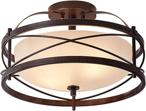 lowest LHLYCLX Entryway Drum Light Fixtures, Semi-Flush Mount Rustic Ceiling Light for online Hallway Living Room Bedroom Kitchen, lowest Old Bronze Finished (Brown) online