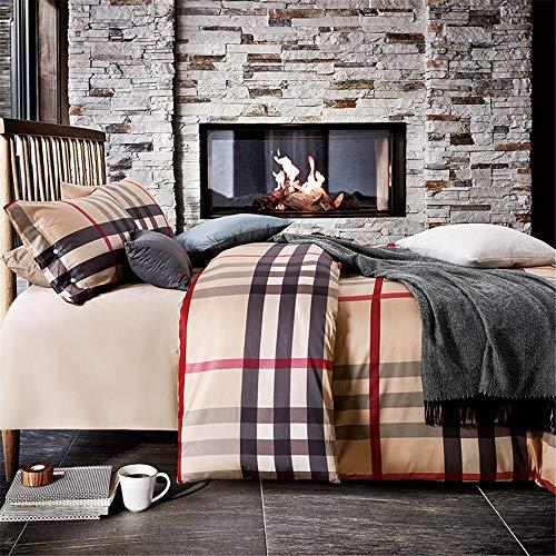 Susulv-hm Bettbezug Vier Sätze Bettwäsche Baumwolle Aktiv Grid Streifen Bettlaken Kissenbezug Geeignet Für Home Interior (Größe : 1.8m)