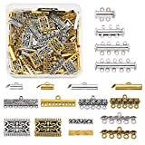 Pandahall 148pcs 14 Styles Mixed Metal Tube Lock Slide Clasps Multi Strands Magnetic Slide On End Clasp Tibetan Chandelier Connector Long Bar Spacer Links for Layered Bracelet Necklace Jewelry Making