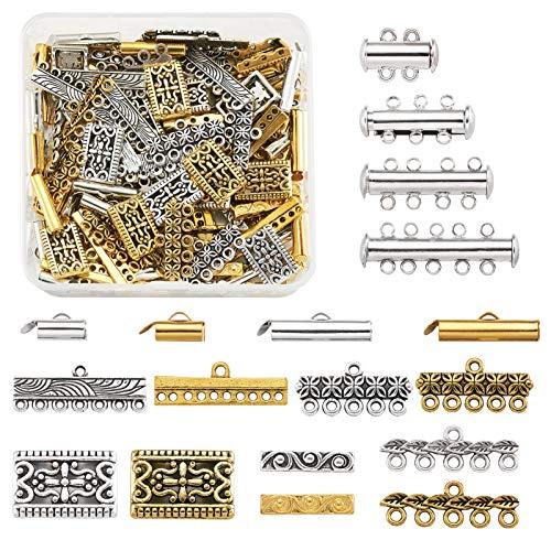 Cheriswelry. 48 cierres magnéticos con 60 eslabones de varios hilos de estilo tibetano y 40 barras espaciadoras rectangulares para hacer joyas
