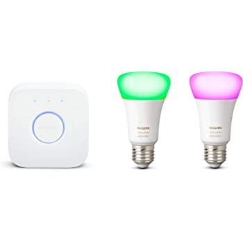 Philips Hue Bluetooth Pack 2 Bombillas Inteligentes LED E27 y Puente, Luz Blanca y de Colores, Compatible con Alexa y Google Home