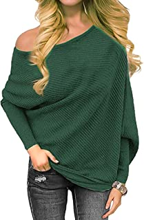 Golden service Women's Off Shoulder Sweater Knit Jumper Long Sleeve Pullover Baggy Solid Sweater