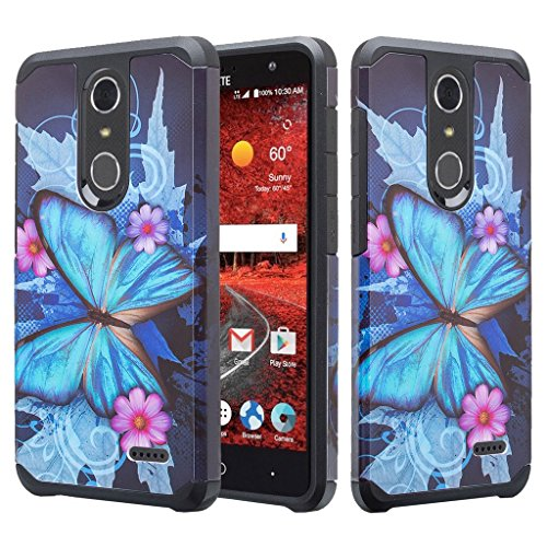 GALAXY WIRELESS Case Compatible for ZTE ZMAX One (Z719DL) Case, ZTE Grand X4 Case, ZTE Blade Spark Z971 Case Hybrid Dual Layer Defender Protective Case Cover for ZTE Blade Spark - (Blue Butterfly)