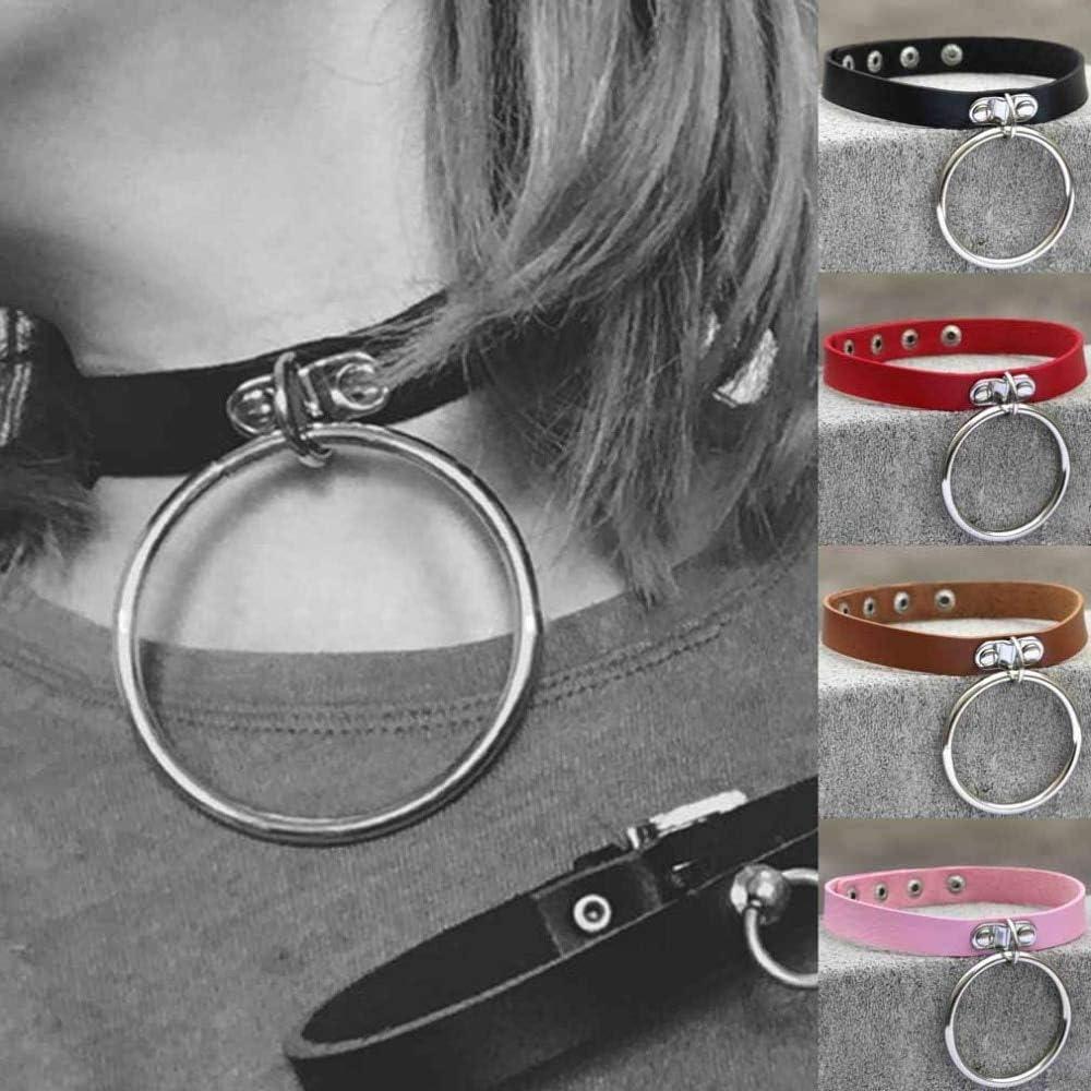 Davitu Unisex Women Men Classic Punk Rock Dark Harajuku Double O Circle Leather Collar Choker Necklace Statement - (Metal Color: Orange)