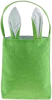 Easter Egg Hunt Basket Bag - Bunny Rabbit Ear Design - Reusable Grocery Shopping Baskets - Kids Party Gift Bags - Baby Shower & Book Storage - by Jolly Jon (Green Burlap/White Ears)