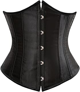 Zhitunemi Women's Lace Up Boned Jacquard Brocade Waist Training Underbust Corset Corset