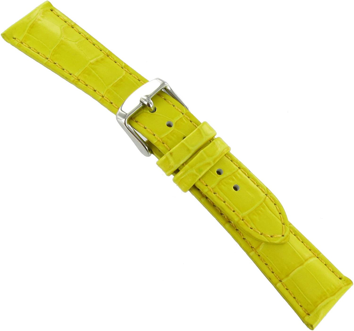 20mm DB Baby Industry No. 1 Crocodile Grain Yellow S Band Padded Challenge the lowest price of Japan ☆ Stitched Watch