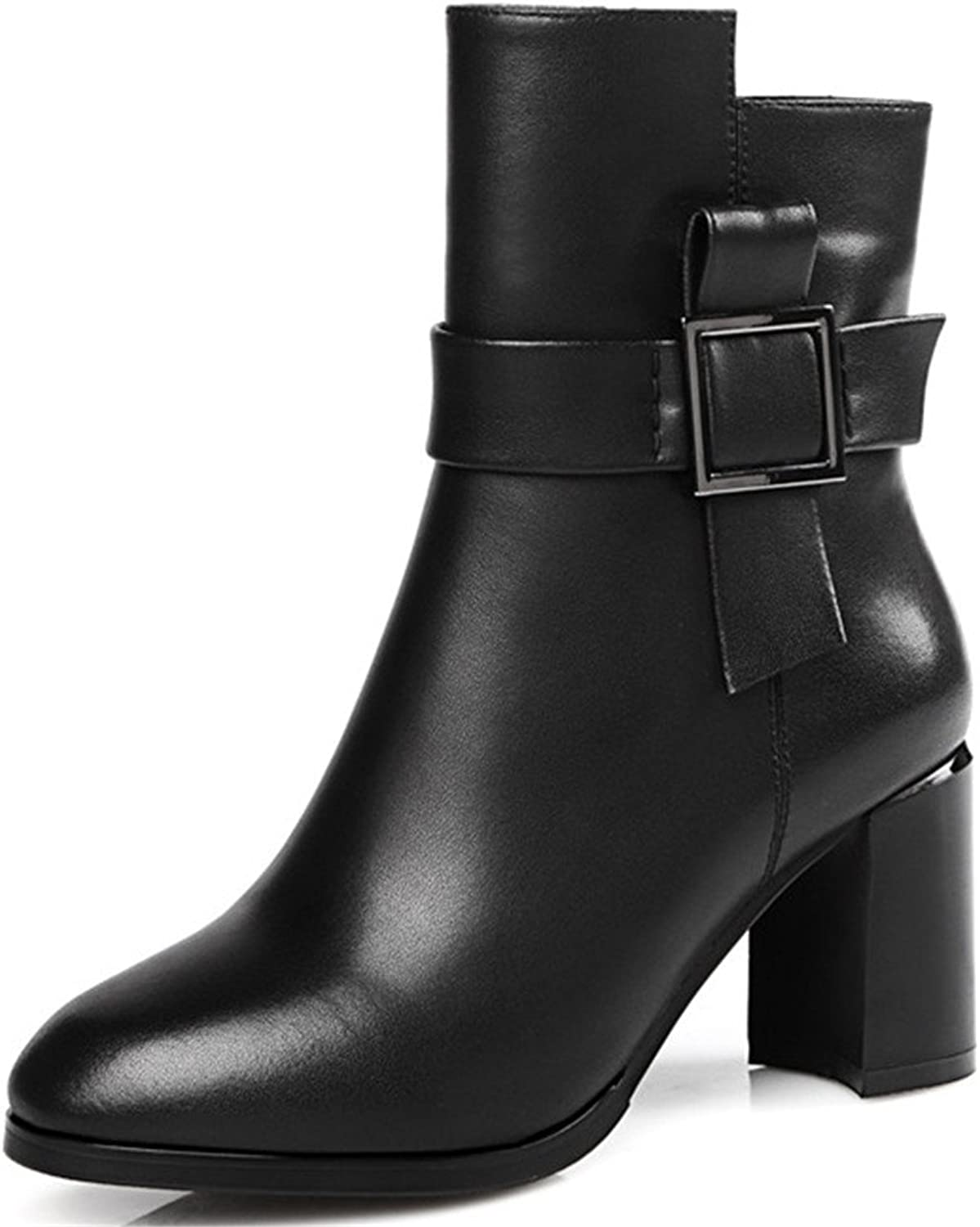 Nine Seven Genuine Leather Women's Round Toe Chunky Heel Buckle Decorated Handmade Trendy Ankle Booties