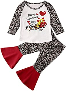 LUCKHA Toddler Baby Girl Valentine's Day Clothes Leopard Heart Print Long Sleeve Top Shirt Ruffle Long Bell Bottom Pants Outfit Set