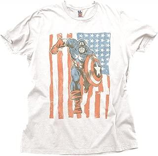 Junk Food Captain America Flag Adult White T-Shirt