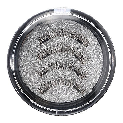 Delighted 4Pcs Dual Magnetic 3D False Eyelashes Long Natural Eyelashes Extension