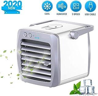 GONGYBZ Aire Acondicionado Portátil USB Air Cooler 3 en 1 Mini Enfriador de Aire, Ventilador Humidificador, Climatizador Evaporativo con 3 Velocidades Hogar/Oficina
