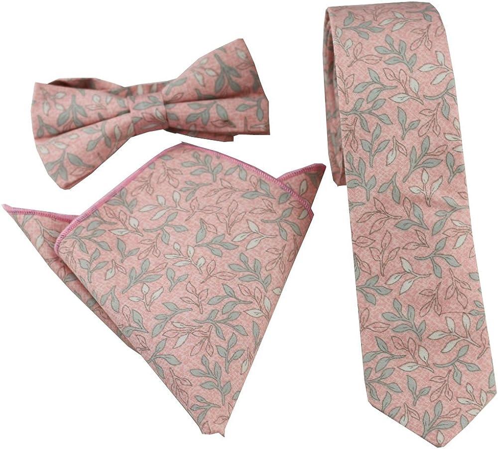 Coachella Ties Light Pink leaf Cotton Necktie Skinny Tie Pocket Square Bowtie (Tie+Pocket Square+Bowtie)