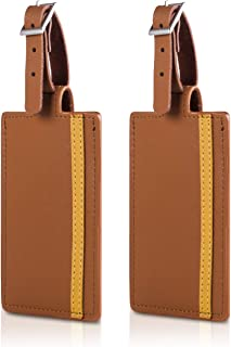Luggage Tags, Leather Suitcase Tag Set Personalized Luggage id Tags Labels Travel Accessories-Set of 2(Brown)