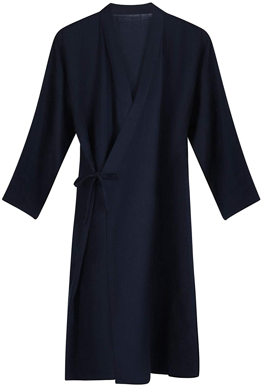 Cotton Kimono Robes Sleepwear with Pockets Lightweight Bathrobes Lady Loungewear