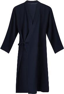 Qchomee Herren Kimono Morgenmantel Casual Yukata V-Ausschnit