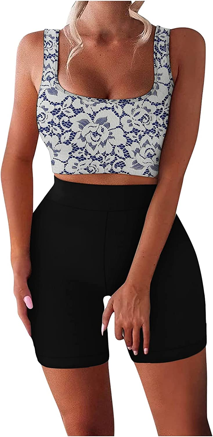 iQKA Women Two Piece Outfit Workout Fitness Sets Sport Yoga Tank Top Shorts Suit Slim Tracksuit Sportswear