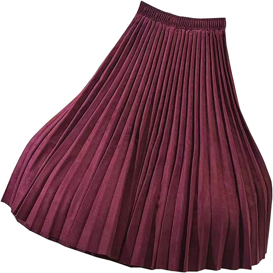 CHARTOU Womens Stretchy High Waist Faux Suede Leather Pleated Accordion Maxi Skirt