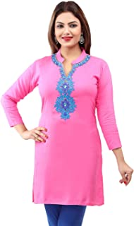 Maple Clothing Rayon Women's Indian Kurtis Tunic Top Embroidered Blouse