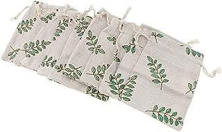 10pcs Pack Cotton Linen Leaf Sack Jewelry Pouch Drawstring Bag Gift Favors