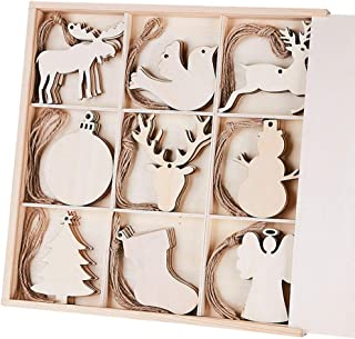 MACTING 45pcs Unfinished Wood Christmas Ornaments with Holes - Ball, Bird, Christmas Stocking, Snowman, Angel, Christmas Tree, Deer Head, Cow, Deer Cutouts Tag Xmas Tree Hanging Decorations ¡