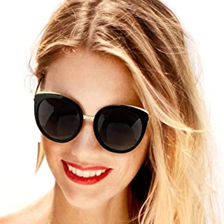 Women Polarized Sunglasses Round Gradient Glasses, Cat...