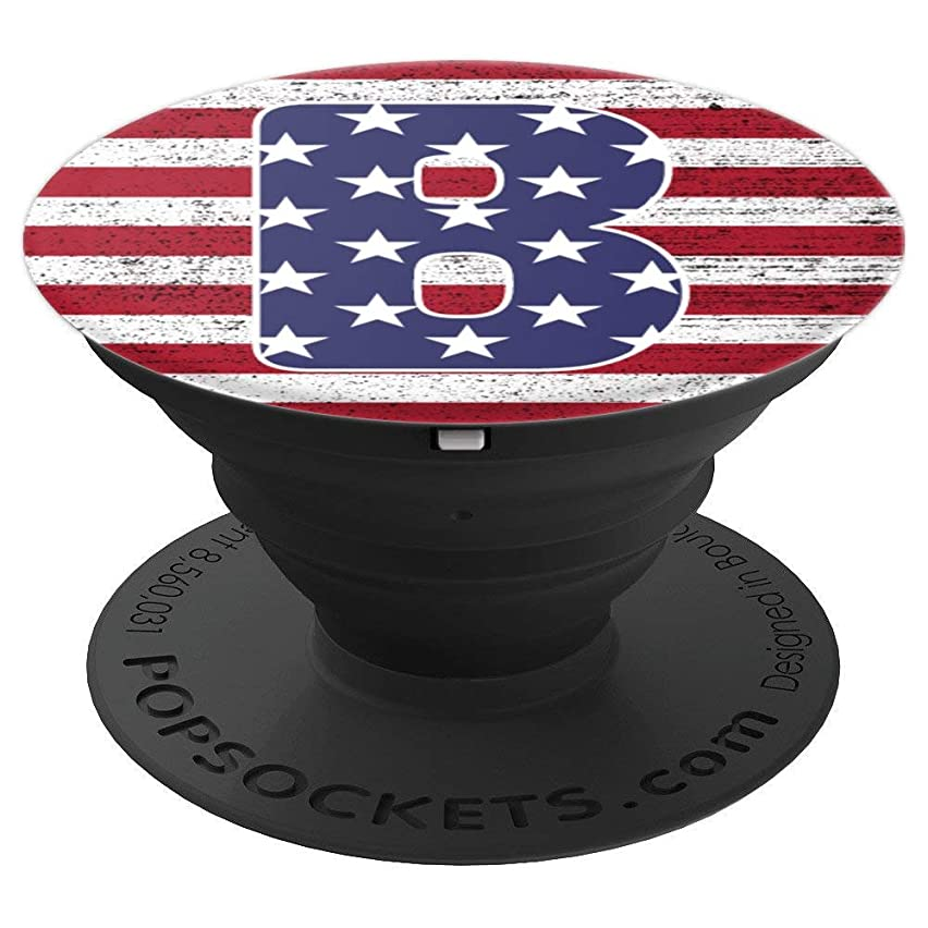 B Monogram Initial Letter US flag red blue for boys and men - PopSockets Grip and Stand for Phones and Tablets