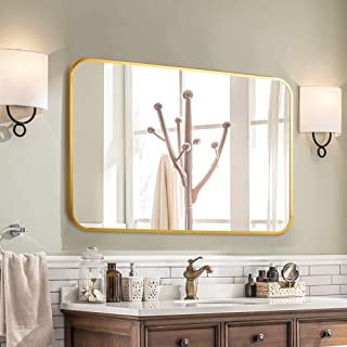 LINSGROUP Large Modern Rectangle Hangs Horizontal or Vertical Bathroom Mirror, Aluminum Alloy Rounder Corner Thin Frame Wall-Mounted Mirror (38