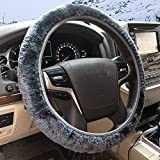 ZHOL Universal 15 inch Steering Wheel Cover Elastic Plush, Keep Warm, Breathable, Anti-Slip, Odorless, Gray