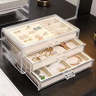 YD Jewelry Box - Acrylic/Flocking Lining, 3-Layer Design, partition Storage, Ladies Transparent Dual-use Large-Capacity Cosmetic Jewelry Finishing Storage Box - 2 Colors Optional /&