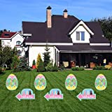 Fanboxk 12 PCS Assorted Easter Yard Signs 6 Pcs Easter Egg Yard Garden Stakes Easter 6 Pcs Hunt Arrow Yard Signs Yard Art with Metal Stakes for Easter Spring Outdoor Decorations(FA2101-6E6A)