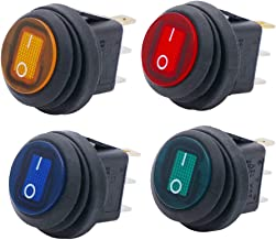 Twidec/4Pcs 12V 20A Waterproof Round Rocker Toggle LED Switch 3 Pins On-Off Car Truck RV Rocker Switch 4 Colours For Boat KCD1-8-101NW-4C