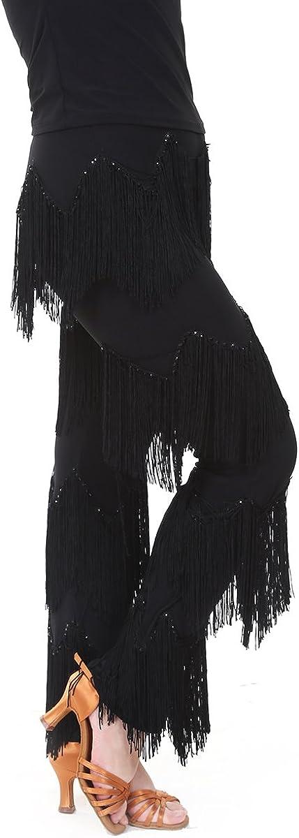 JS CHOW Miami Mall Black Tassel Fringe Seasonal Wrap Introduction Ballroom Dec Pants Dance Latin Salsa