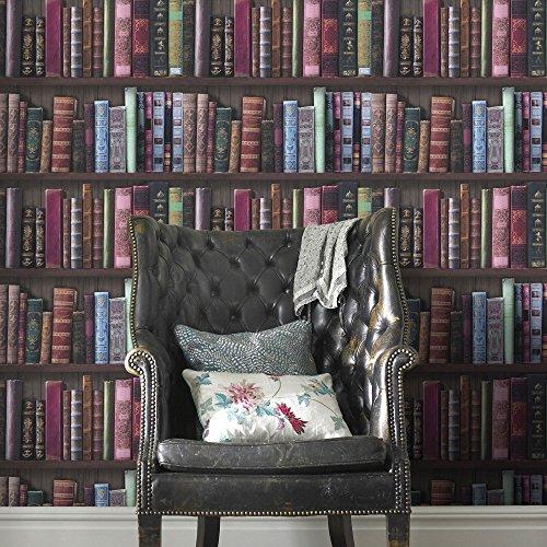 Fresco Great Value Book Shelf Boekenkast Bibliotheek Behang, Groen/Rood & Roze