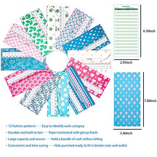 rnairni All-in-One Cash Envelopes Handbag Wallet, Finances Organizer Budget Planner Purse with 12 Budget Envelopes & Budget Sheets(Blue) Photo #6