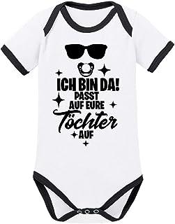 Mikalino Ringer Babybody Ich Bin da! Passt auf eure Töchter auf. 100% handbedruckt in Deutschland - bei 60 Grad waschbar - mit Spruch