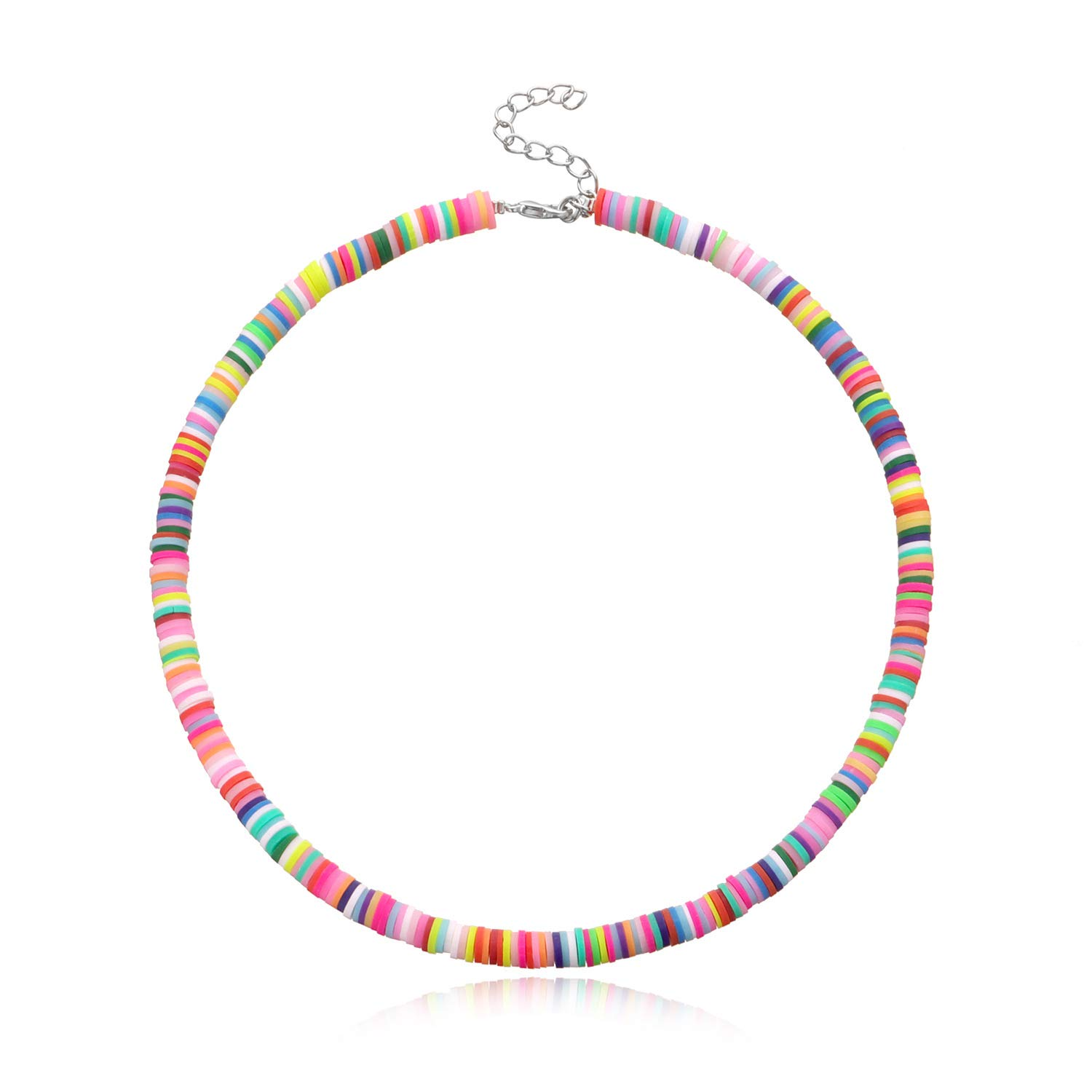Yalice Boho Surfer Choker Necklace Hawaiian Necklaces Chain Heishi Bead Necklace Jewelry for Women and Girls (Colorful)